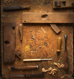 Hand tools Wood on an old wooden workbench Royalty Free Stock Photography
