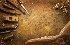 Hand tools Wood on an old wooden workbench Royalty Free Stock Image