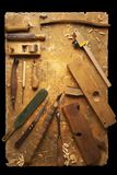 Hand tools Wood on an old wooden workbench. Hand tools Wood Drill Jig Saw plane chisel on an old wooden workbench Stock Image