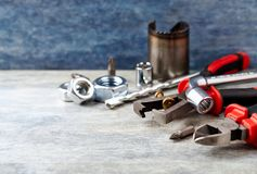 Hand tools on a wooden background. stock photography