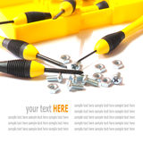 Hand tools, yellow screwdriver set isolated on White Stock Photography