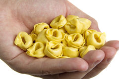 Hand with tortellini Stock Image