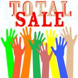 Hand with total sale word  in white Royalty Free Stock Images