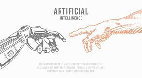 Hand touch. Android and human. Artificial intelligence Banner. Bionic arm poster. Future technology. Vintage Engraved. Drawn Monochrome Sketch royalty free illustration