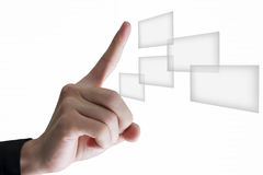 Hand-touch button. Royalty Free Stock Photography