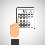 Hand touch calculator financial. Vector illustration eps 10 Stock Photography