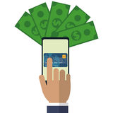 Hand touch cellphone payment application. Vector illustration eps 10 Royalty Free Stock Photos