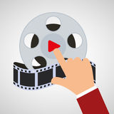 Hand touch cinema reel film. Illustration eps 10 Royalty Free Stock Image