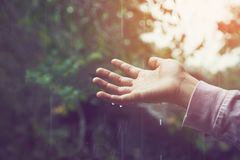 The hand touch dropping rain scattered down. Environmental concept. Stock Photos