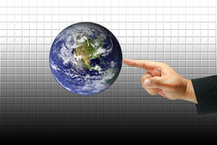 Hand touch earth. Right hand touch the earth Royalty Free Stock Images