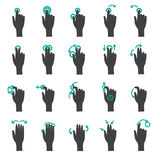 Hand Touch Gestures Flat Icon Set. Action of flat hand icon touch on virtual screen Stock Image