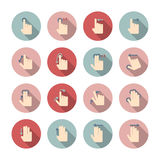 Hand touch gestures icons set Stock Photography