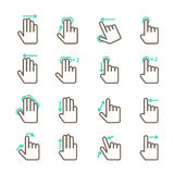 Hand touch gestures icons set stock illustration