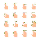 Hand touch gestures icons set. Touch screen hand gestures icons set of swipe pinch and tap isolated vector illustration Royalty Free Stock Photo