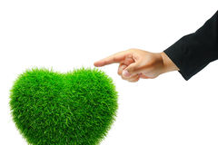 Hand touch grass heart Royalty Free Stock Images