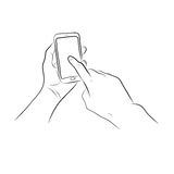 Hand touch the home button on Smart Phone royalty free illustration