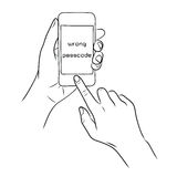 Hand touch the home button on Smart Phone. Hand drawn Stock Images