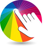 Hand touch logo. Illustration art of a hand touch logo with  background Stock Images