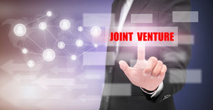 Hand touch. Hand of man touch `Joint Vernture` text, business concept stock illustration