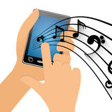 Hand touch mobile phone note music Stock Image
