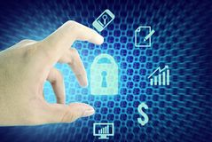 Hand and business internet security. Hand touch network icon in internet concept Stock Photos