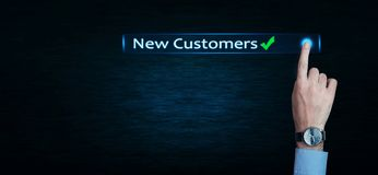 Hand touch New Customers word. Hand touch New Customers word in screen royalty free stock photos