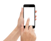 Hand touch phone isolated with clipping path on white royalty free stock images