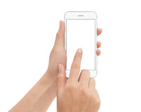 Hand touch phone isolated with clipping path on white background. Mock-up phone blank screen Royalty Free Stock Photos