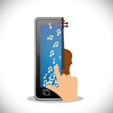 Hand touch phone note fiddle mobile music. Illustration eps 10 Royalty Free Stock Photography