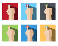 Hand Touch Point Set Stock Photography