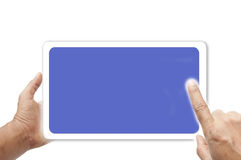 Hand and touch screen Stock Photo