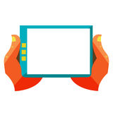 Hand touch screen on digital tablet Stock Images