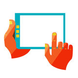 Hand touch screen on digital tablet Stock Photography