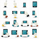 Hand touch screen icons Royalty Free Stock Photography