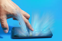 Hand on touch screen  smartphone Royalty Free Stock Photography