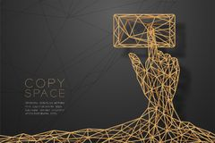 Hand touch screen smartphone shape wireframe Polygon golden frame structure, connect technology concept design illustration. Isolated on black gradient royalty free illustration