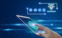Hand touch screen tablet with 5G network wireless system internet of things cover,Futuristic background of modern,concept Smart vector illustration