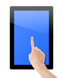Hand touch screen on tablet pc Royalty Free Stock Photos