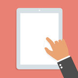 Hand touch screen tablet. Royalty Free Stock Images
