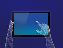 Hand Touch screen. Touchpad wireframe concept vector illustration