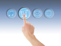 Hand touch on Shopping icon Stock Image