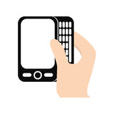 Hand touch smart phone screen electronic. Illustration eps 10 Royalty Free Stock Image