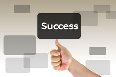 Hand touch success. One hand touch success box Stock Images