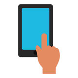Hand touch tablet blue screen graphic Stock Photo