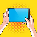 Hand and Touch Tablet Stock Images