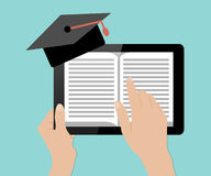 Hand touch tablet pc with book, education concept Royalty Free Stock Images
