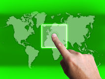 Hand Touch Touchscreen On World Map Shows Internet Web Royalty Free Stock Images