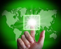 Hand Touch Touchscreen On World Map Shows Internet Web Royalty Free Stock Photos