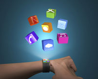 Hand touch ultra-thin smart watch with apps Royalty Free Stock Photography