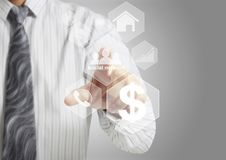 Touch virtual icon of social network. Hand touch virtual icon of social network Royalty Free Stock Image